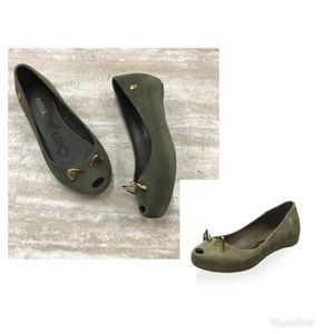 Melissa Ultragirl Cat Suede Green Slip On Shoes